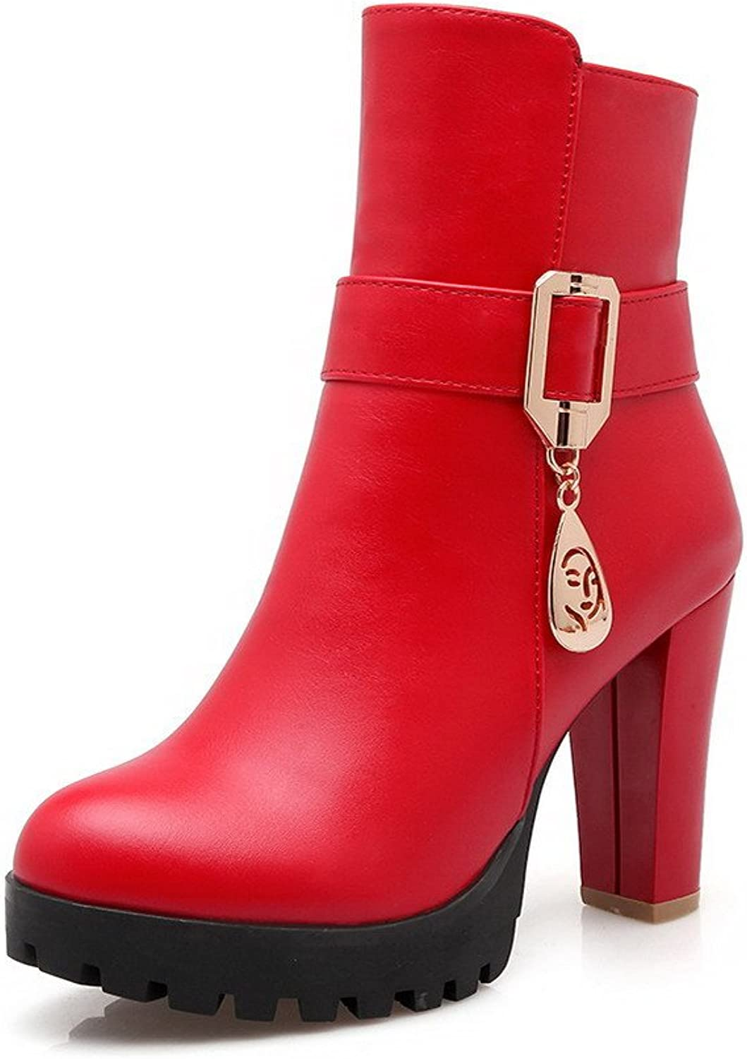 AllhqFashion Women's Low Top Solid Zipper Round Closed Toe High Heels Boots with Charms