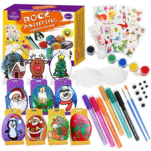 Pinturas para Niños Juegos de Manualidades Para Niños Kit de Pintura de Piedras para Niños y Adultos Kit de Pintura de Piedras DIY, Regalo de Ideas para niños Edad 4 5 6 7 8 9 10