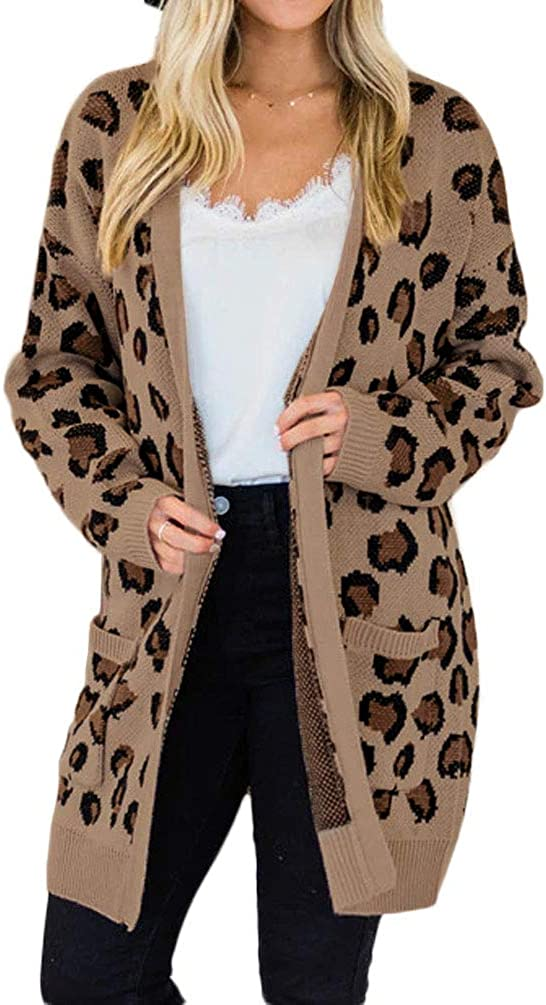 Women's Long Sleeve Open New item Front Cardigan Print Pocke Leopard 40% OFF Cheap Sale with