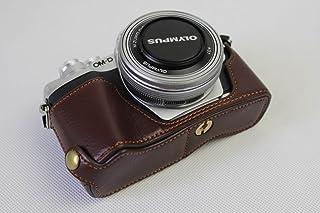 Olympus オリンパス OM-D E-M10 Mark III OM D E M10 Mark III 半カメラカバー 半カメラケース、Koowl手作りの本革カメラボディージャケット、保護袋、台座の透かし彫り+ハンドストラップ(カメラストラップ)、防水、防振、ポータブル (コーヒー色)