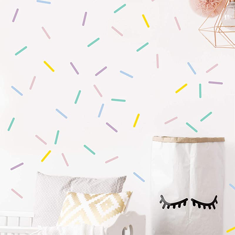 Pastel Sprinkles Confetti Wall Decals Mini Bar Stickers For Kids Room Decoration 100 Elements