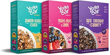 Yogabar Muesli Variety Pack - (Dark Chocolate, Fruits Nuts + Seeds, Almond + Quinoa Crunch) 400g Each