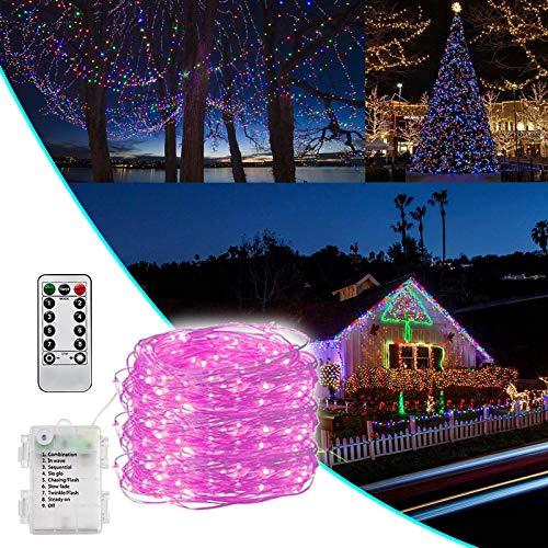 Cadena de luces LED, caja de batería impermeable de 10 m, cable de cobre, cadena de luz de control remoto llevado al aire libre con controlador de llave