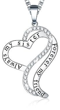 """Collar con colgante en forma de corazón, de Ado Glo, con inscripción en inglés """"Always My Sister Forever My Friend"""", perfecto regalo para hermana, cumpleaños o día de San Valentín; para niñas y mujeres, para el Día de la Madre, un regalo para ella o para tus mejores amigas"""