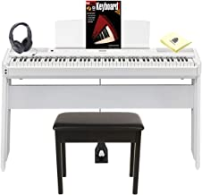 Yamaha P-515WH 88 Weighted Key Digital Piano with Smart Pianist app for iOS & Stereo Speaker System Package with Piano Bench, Wooden Stand, Digital Piano Headphones & Zorro Piano Polish Cloth - White