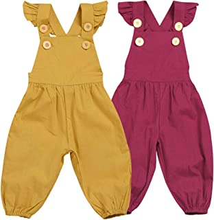 Toddler Kids Baby Girl Vintage Style Spring Outfit Jumpsuit Romper Long Ruffled Overalls Pants Outfits