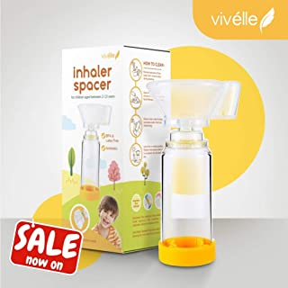 Vivélle Pediatric Inhaler Spacer with Soft Silicone Mask - Safety Sealed Spacer for MDI Inhaler Children 2-13 Years Old - Asthma Inhaler Spacer for Kids Using Puffer CE Approved Latex & BPA Free