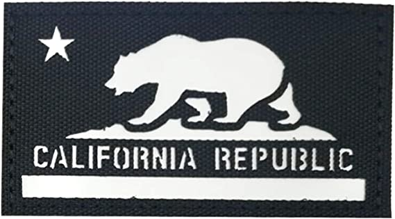Embroidered Morale Patch with hook backing Patriotic California Republic Flag