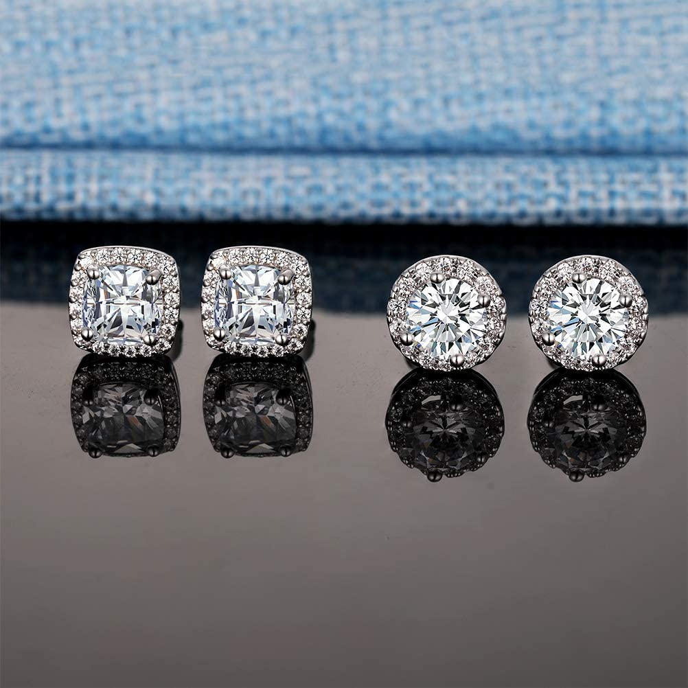 18K White Gold Plated Round Square Cubic Zirconia Simulated Diamond Halo Stud Earrings (2 Pairs)