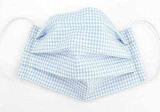 Mund- & Nasenmaske - Hellblau-Weiß kariert - Baumwollmaske