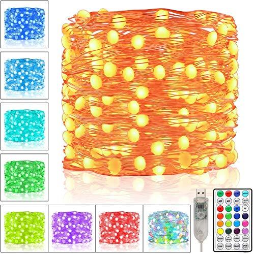 Ollny LED Draht Lichterkette Deko Wohnzimmer, 20m 200 LED Bunte Mini Drahtlichterketten mit Fernbedienung und USB, 16 Farbe 6 Modus RGB Lichtkette für Tannenbaum Innen Weihnachten Wohnzimmer Deko