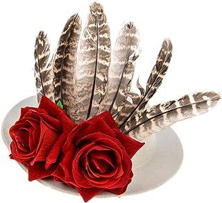 Feather Flower Fascinators Pillbox Hat, Wedding Cocktail Ball Church Tea Party Headwear with Hair Clip,White