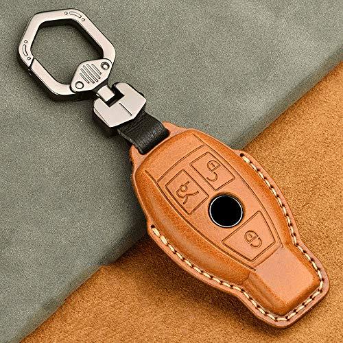 YANJHJY Funda de Cuero para Llave de Coche, Apta para Mercedes Benz Clase ACESM GLK GLA W203 W204 W205 W210 W212 W211, marrón