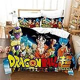 Dragon Ball Funda nórdica 3D Anime Dragon Ball Juego de Cama 2 Piezas Incluyen 1 Funda nórdica y 1 Fundas de Almohada, Funda de edredón de Anime para niños (3, Individual 135 x 200 cm)