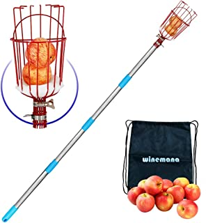 YOFIT Fruit Picker Basket with Cushion and 1.3-12 FT Telescopic Extension Pole, Twist-On Professional Metal Fruit Catcher ...