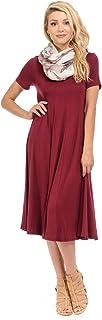 iconic luxe Women's Short Sleeve A-Line Paneled Midi Dress