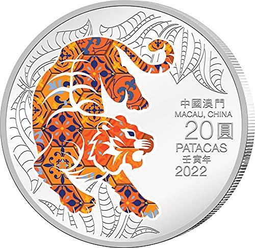 Power Coin Tiger Tigre Lunar Year 1 Oz Moneda Plata 20 Patacas Macau 2022