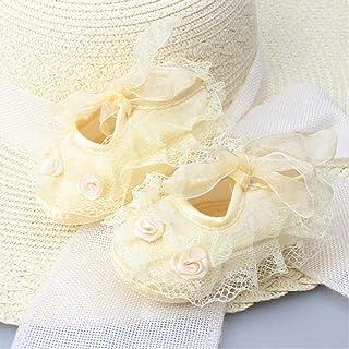 Calcetines De Niña De Verano De Princesa Calcetines De Encaje De Moda Calcetines Recién Nacidos con Suelas Antideslizantes Zapatos De Calcetines De Bebé para Bebés Y Niños
