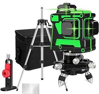 自動セルフレベリングロータリーレーザーレベルグリーンビーム、壁に使用可能、360度3D 12レーザーライン、+ + 7Mスタッフ範囲、12ライン(2バッテリー)