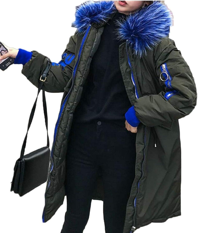 Gocgt Women's Puffer Jacket Down Coat Fur Hood Down Parka Outwear