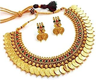 YouBella Traditional Red and Green Temple Coin Necklace Set/Jewellery Set with Earrings for Women