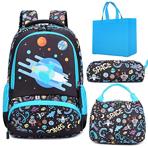 Boys Space Backpack for School Elementary School Bookbag Sets Water Resistant School Bag with Lunch Tote Bag Pencil Bag 3 in 1 Sets Space Ship
