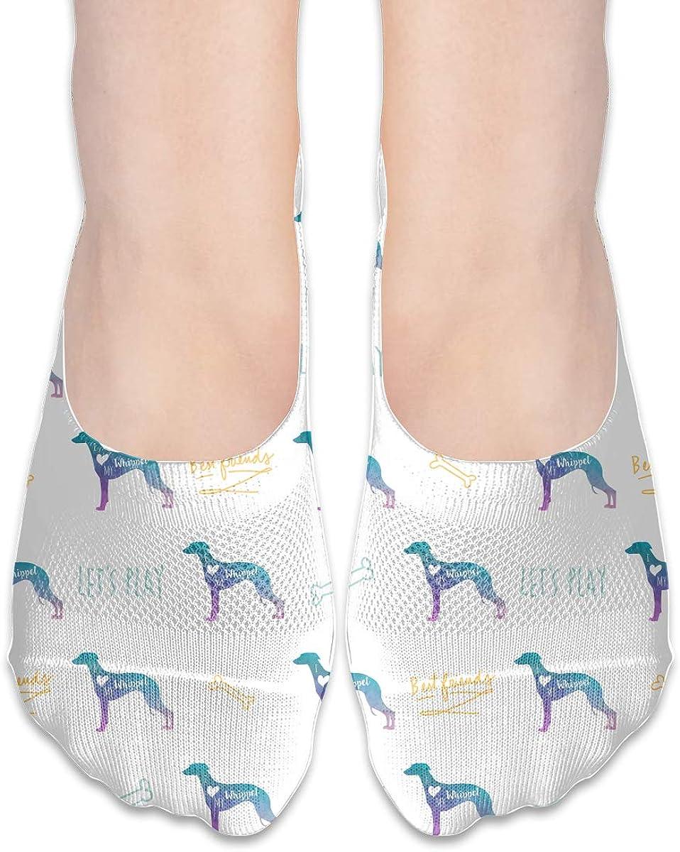 Casual Funny Whippet Dog Socks, No Show Socks For Women Men