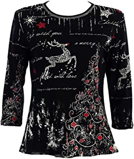 Jess & Jane Reindeer's Dream Rhinestone Tee Shirt - 14-848