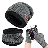 Affei Winter Beanie Hat Scarf Set Warm Knit Hat Thick Knit Skull Cap Touch Screen Glove Unisex Gray