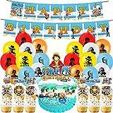 One Piece Party Supplies-Miotlsy 40pcs One Piece Decoración para Fiestas Temáticas, Kit de Decoración de Fiesta de Cumpleaños para Niños, kit de decoración de fiesta de One Piece