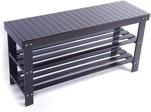 B07XRF8LNC✅Lernonl 90cm Strip Pattern 3-Layer Bamboo Bench Shoe Rack Storage Shoe Suitable for Corridor Storage Shelf Bathroom Living Room(Coffee)