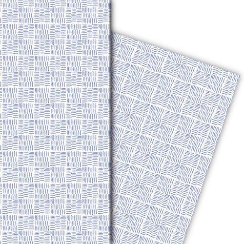 Kartenkaufrausch blauw cadeaupapier set 4 vellen, decoratief papier met aquarel ruit voor leuke cadeauverpakking, patroonpapier om te knutselen 32 x 48 cm