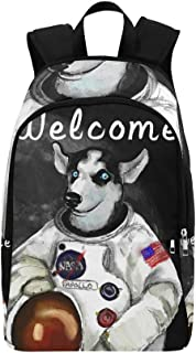 Universe Space American Dog Siberian Husky Welcome Casual Daypack Travel Bag College School Backpack for Mens and Women