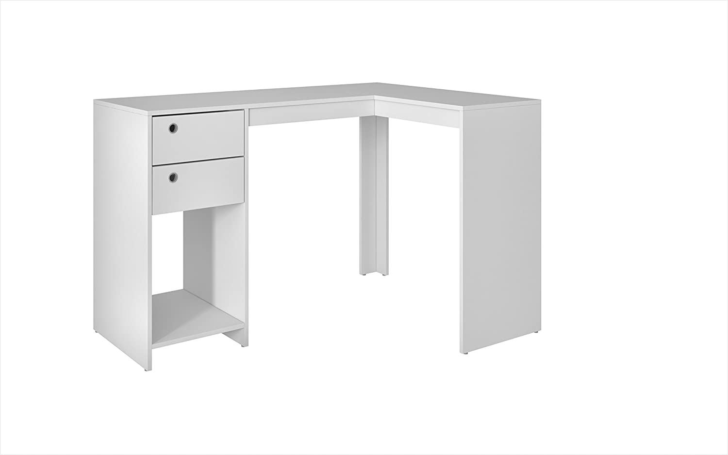 Manhattan Comfort Accentuations by Modest Palermo Classic  L  Shaped Desk with 2 Drawers and 1 Cubby in White - 41AMC6