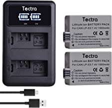 Tectra 2-Pack LP-E5 Battery and LED USB Dual Charger Compatible with Canon EOS Rebel XS, Rebel T1i, Rebel XSi, 1000D, 500D, 450D, Kiss X3, Kiss X2, Kiss F