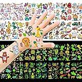 HOWAF Temporäre Tattoos für Kinder,135+Stück Im Dunkeln Leuchtende Mixed Style Cartoon Tattoo,Einhorn Dinosaurier Pirat Fußball Meerjungfrau Hai Tattoo,für Jungen Mädchen Party Dekor Geschenk