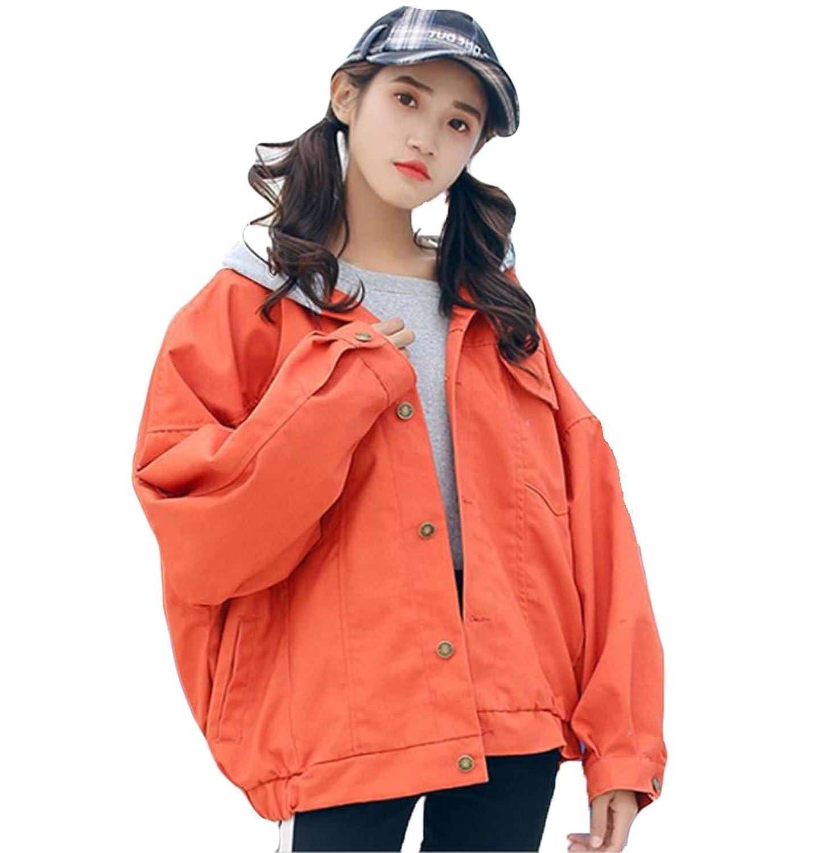 YiTong レディース デニムコート 春 ブルゾン 長袖 フード付き カウボーイ ショート ジャケット シンプル 無地 ゆったり 上着 BF風 韓国風 ファッション カジュアル
