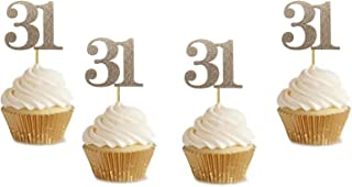 """20 Pack of Number 31"""" Cupcake Toppers Glitter Rose Gold 31st Birthday Party Anniversary Party Cupcake Toppers"""