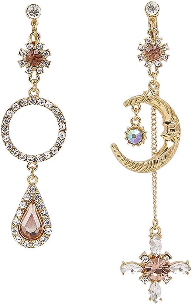 Gold Plated Moon Face Clip on Earrings Crystal Teardrop Dangle Flower Round Drop for Women Girl