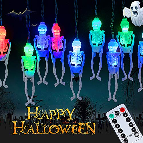 Skeleton Halloween String Lights - 8 Lighting Modes, 10Ft 20LEDs Skeletons Halloween Lights Decoration Outdoor, Battery-Powered String Lights, Spooky Halloween Lights for Party Patio Indoor Outdoor