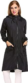 Zeagoo Women's Lightweight Waterproof Raincoat with Hood Long Outdoor Hiking Rain Jacket