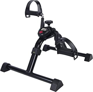 Vaunn Medical Folding Pedal Exerciser with Electronic Display for Legs and Arms Workout..