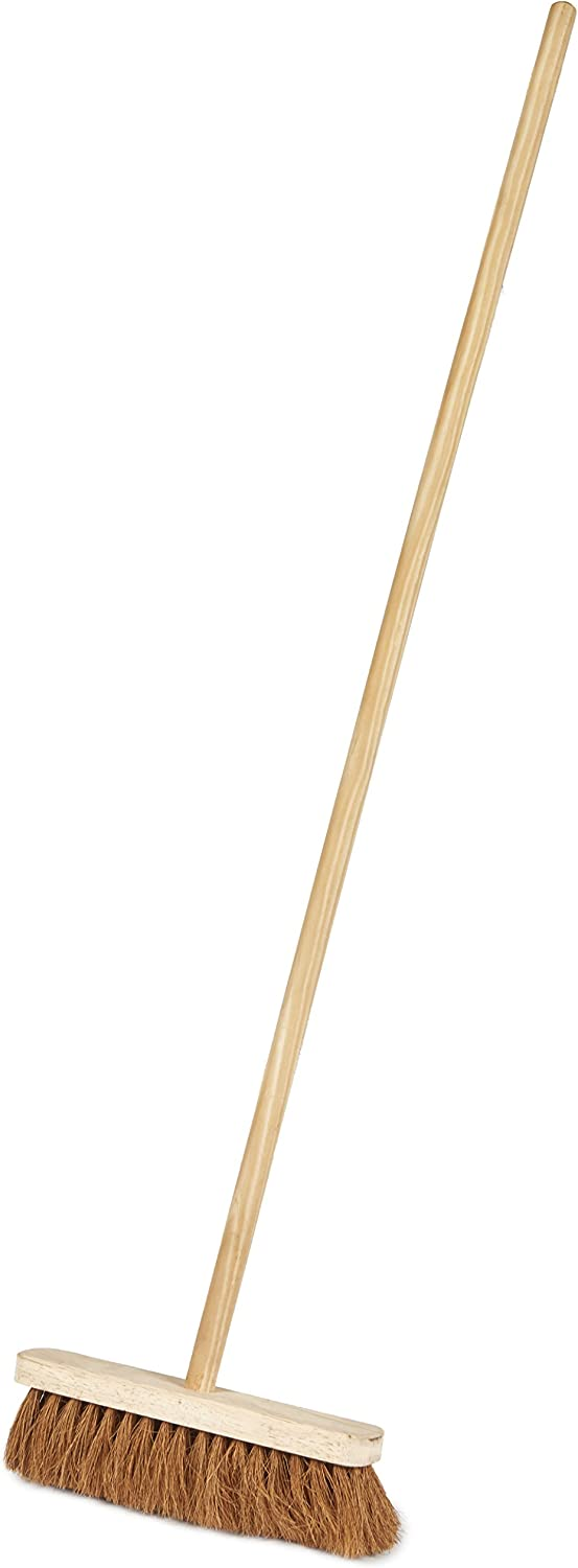 Saddlers Soft Coco Bristles Platform Broom with Fitted Handle, 12Inch, Pack of 5