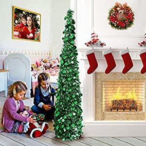 AerWo 5ft Pop Up Christmas Tinsel Tree with Stand, Gorgeous Collapsible Artificial Christmas Tree for Christmas Decorations, Green