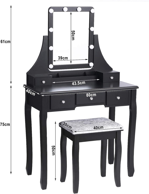 tabouret rembourr/é vinaigrette 5 tiroirs 2 diviseurs organisateurs amovibles Blanc BDT04W ANWBROAD Coiffeuse Moderne Table de maquillage Vanit/é Set avec miroir /éclair/é 10 ampoules LED /à incandescence