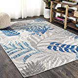 JONATHAN Y Tropics Palm Leaves Indoor/Outdoor Gray/Blue 8 ft. x 10 ft. Area Rug, Outdoor, Easy Cleaning, For High Traffic, Kitchen, Living Room, Backyard, Non Shedding