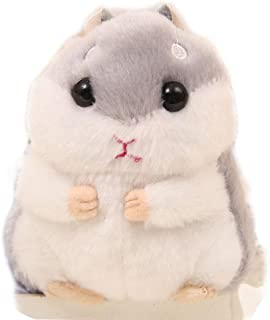 BONTOUJOUR Super Cute Animal Hamster Plush Keychain Stuffed Animals Key Chain Charm Handbag Bag Purse Pendant-Grey