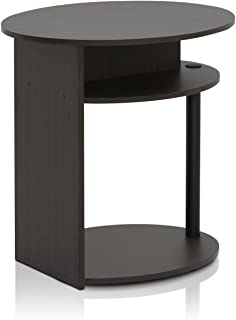 FURINNO Oval End Table, One, Walnut