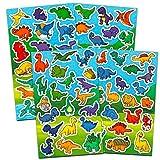 Crenstone Dinosaur Stickers Party Supplies Pack for Kids Toddlers ~ Over 150 Dinosaur Stickers (8 Party Favor Sticker Sheets)