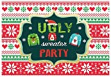 Funnytree 7x5ft Tacky Christmas Sweater Party Backdrop Red and Green Ugly Xmas Patterns Photography Background Winter Kids Elfed Photobooth Decorations Step and Repeat Banner Invitation